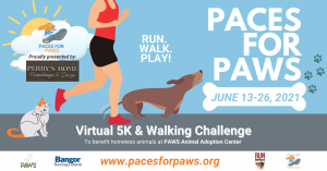 Paces for PAWS Virtual 5K & Walking Challenge @ https://www.pacesforpaws.org